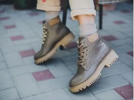 Ботинки кожаные коричневые (визон) Frozen на байке