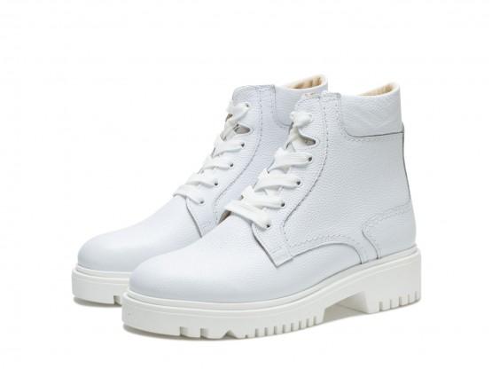 Ботинки кожаные белые Frozen на байке