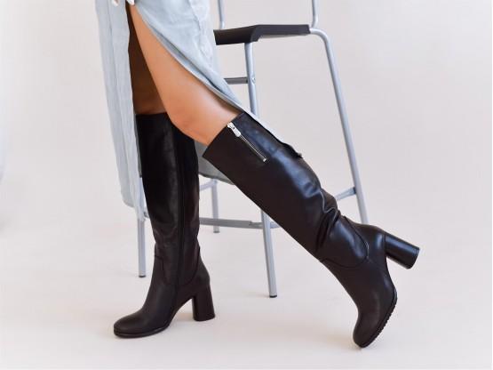 Сапоги кожаные черные на меху (Еврозима)