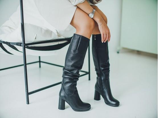 Сапоги кожаные черные на меху