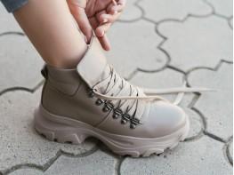 Ботинки кожаные бежевые Energy на байке