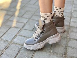 Ботинки кожаные бежевые (флотер) Energy на байке