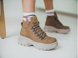 Ботинки нубук бежевые (капучино) Energy на байке