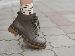 Ботинки кожаные коричневые (визон) на байке