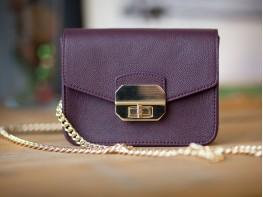 Сумка кожаная женская фиолетовая