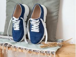 Кроссовки синие замшевые (джинс) Easy Going на кожаной подкладке