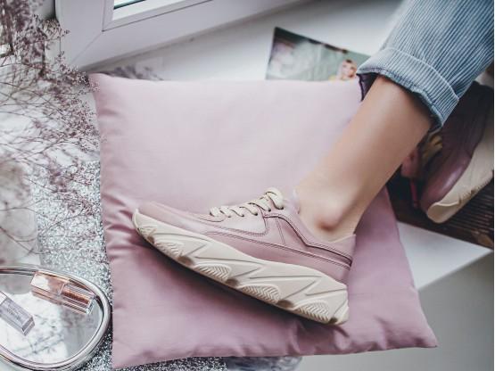 Кроссовки кожаные розовые на кожаной подкладке