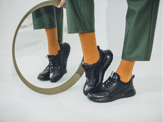 Кроссовки кожаные черные Ultraspace на кожаной подкладке