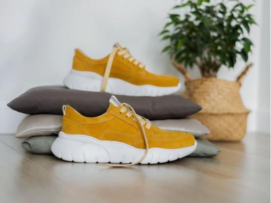 Кроссовки замшевые желтые (карри) Ultraspace на кожаной подкладке