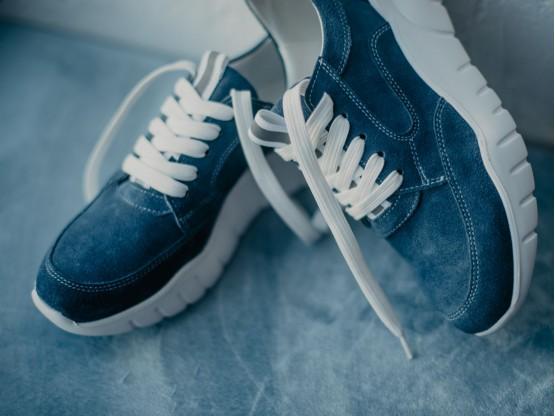 Кроссовки замшевые синие (джинс) Ultraspace на кожаной подкладке