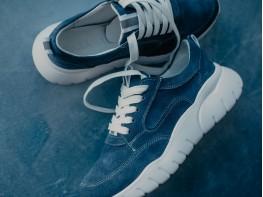 Кроссовки замшевые синие (джинс) Ultraspace