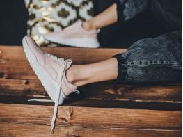 Кроссовки кожаные розовые (пудра) Ultraspace