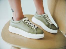 Кеды кожаные зеленые (авокадо) Trendy на кожаной подкладке