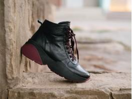 Кроссовки кожаные демисезонные черные Fantasy на байке