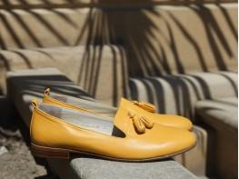 Лоферы кожаные желтые (карри) на кожаной подкладке