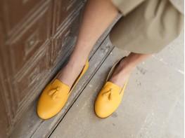 Лоферы кожаные желтые (карри)