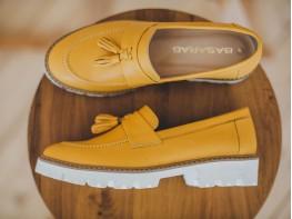 Лоферы кожаные желтые (карри) Monaco