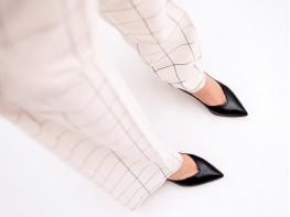 Туфли кожаные черные на каблуке на кожаной подкладке