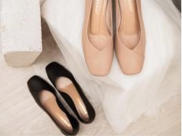 Туфли кожаные кремовые на каблуке без подкладки