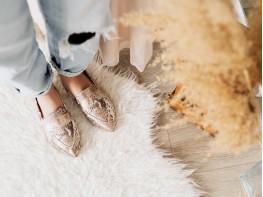 Лоферы кожаные золотые (питон) на кожаной подкладке