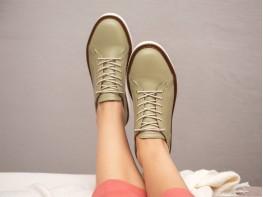 Туфли кожаные зеленые (авокадо) Bubble на кожаной подкладке