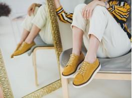 Туфли замшевые желтые Bubble на кожаной подкладке