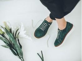 Туфли замшевые зеленые Bubble на кожаной подкладке