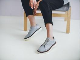 Туфли кожаные серые Bubble на кожаной подкладке
