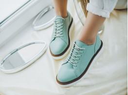 Туфли кожаные зеленые (мята) Bubble на кожаной подкладке