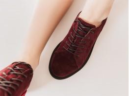 Туфли замшевые бордовые (вино) Bubble на кожаной подкладке