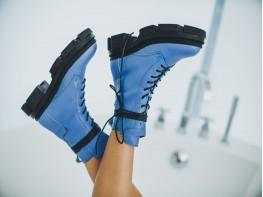Ботинки кожаные синие на байке