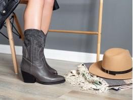Ботинки кожаные серые на кожаной подкладке