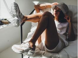 Кроссовки кожаные комбинированные белые на кожаной подкладке