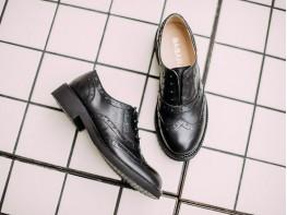 Туфли кожаные черные Italy на кожаной подкладке