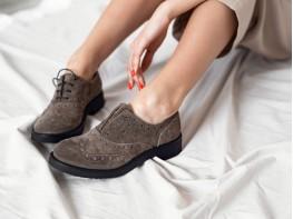 Туфли замшевые коричневые (кофейные) Italy