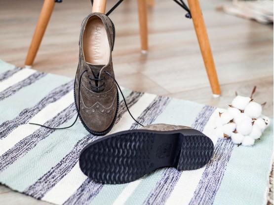 Туфли замшевые коричневые (кофейные) Italy на кожаной подкладке
