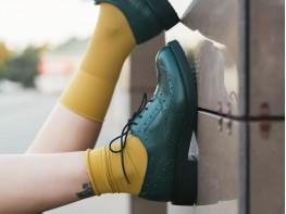 Туфли кожаные зеленые Italy
