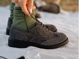 Туфли замшевые серые Italy на кожаной подкладке