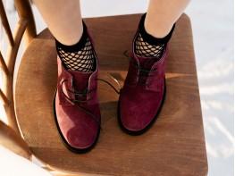 Туфли замшевые бордовые Sensitive на кожаной подкладке