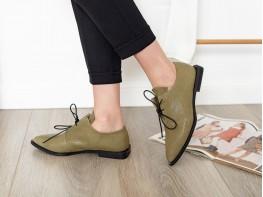 Туфли кожаные зеленые