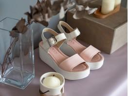 Босоножки кожаные розовые (блеск/беж) Dream