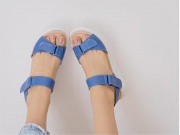 Босоножки кожаные синие на кожаной подкладке