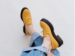Туфли кожаные желтые на кожаной подкладке