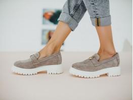 Туфли замшевые серые на кожаной подкладке