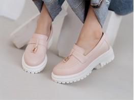 Туфли кожаные розовые (пудра) на кожаной подкладке