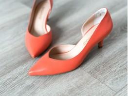 Туфли кожаные оранжевые Lady