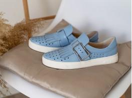 Слипоны кожаные голубые