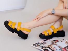 Босоножки кожаные желтые (карри) на кожаной подкладке