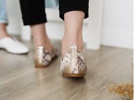 Туфли кожаные золотые (питон) на кожаной подкладке