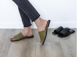 Сабо кожаные зеленые (хаки)